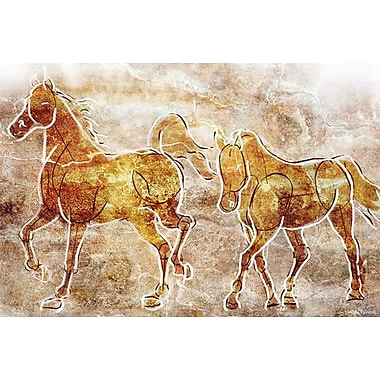 Maxwell Dickson ''Horses on the Wall'' Graphic Art on Canvas; 20'' H x 30'' W
