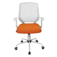 LumiSource Mid-Back Network Office Chair; White / Orange