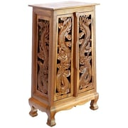 EXP Acacia 23'' Chinese Dragons Storage Cabinet; Natural
