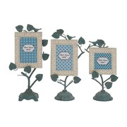 Woodland Imports 3 Piece Creative Incredible Metal Photo Frame Set; Blue