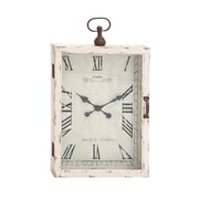 Woodland Imports Beautiful Wood Metal Wall Clock