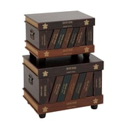 Woodland Imports Lovely 2 Piece Wood Faux Leather Trunk Set