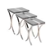 Woodland Imports Sleek 3 Piece Stainless Steel / Vinyl Nesting Table