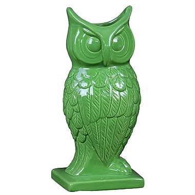 Woodland Imports Spectacular and Magnificent Ceramic Owl Vase; Green