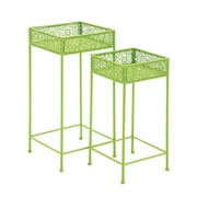 Woodland Imports 2 Piece Plant Stand Set; Green