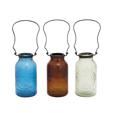 Woodland Imports Stylish Glass Metal Bottle Vase (Set of 3)