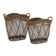 Woodland Imports 2 Piece Metal Burlap Baskets Set