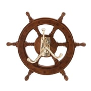 Woodland Imports The Must Have Wood Brass Ship Wheel Wall Hook