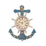 Woodland Imports Attractive Wood Anchor Clock