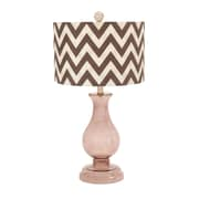 Woodland Imports Curved Glass 26'' H Table Lamp with Drum Shade; Brown