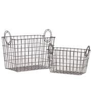 Woodland Imports 2 Piece Attractive Rectangular Shape Wire Meshed Basket Set; Silver