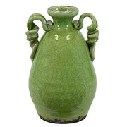 Woodland Imports Traditional Double Ear Vase; Green