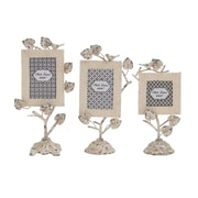 Woodland Imports 3 Piece Creative Incredible Metal Photo Frame Set; White