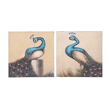 Woodland Imports Enchanting and Adoring 2 Piece Painting Print on Canvas Set