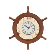 Woodland Imports Beautiful Styled Wood Brass Ship Wheel Clock