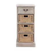 Woodland Imports The Cool Wood 3 Basket Chest