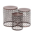 Woodland Imports The Floral 3 Piece End Table Set