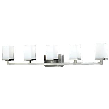 Z-Lite Tidal (1900-5V) - Luminaire pour salle de bains à cinq lumières, 5 po x 40 po x 8 po, nickel brossé