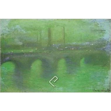 Pont de Waterloo au crépuscule par Monet, toile, 24 x 36 po