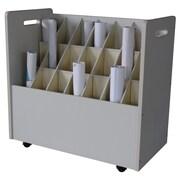 Adir Corp Mobile Wood Roll File Filing Cart