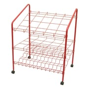 Adir Corp 12 Opening Wire Bin Roll File Filing Cart; Red