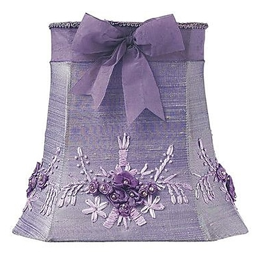 Jubilee Collection 10'' Floral Bouquet Dupioni Silk Square Lamp Shade; Lavender