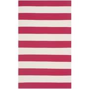 Safavieh Montauk Red / White Striped Contemporary Rug; 4' x 6'