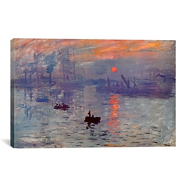 iCanvas 'Sunrise Impression' by Claude Monet Painting Print on Canvas; 12'' H x 18'' W x 0.75'' D