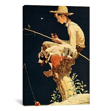 iCanvas 'Boy Fishing' by Norman Rockwell Painting Print on Canvas; 61'' H x 41'' W x 1.5'' D