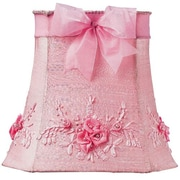 Jubilee Collection 11.25'' Floral Bouquet Dupioni Silk Square Lamp Shade; Pink