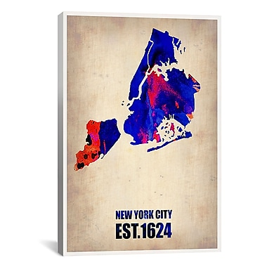 iCanvas Naxart New York City Watercolor Map I Graphic Art on Canvas; 26'' H x 18'' W x 0.75'' D