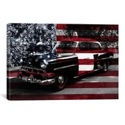 iCanvas Vintage Polics Cops Car, American Flag Graphic Art on Canvas; 26'' H x 40'' W x 1.5'' D