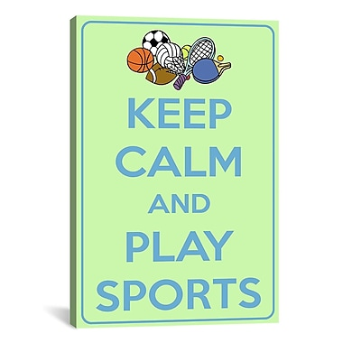 iCanvas Keep Calm and Play Sports Textual Art on Canvas; 60'' H x 40'' W x 1.5'' D