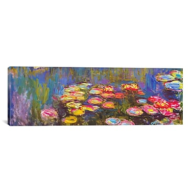 iCanvas ''Water Lilies'' by Claude Monet Painting Print on Canvas; 24'' H x 72'' W x 1.5'' D