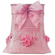 Jubilee Collection 10'' Floral Bouquet Dupioni Silk Square Lamp Shade; Pink