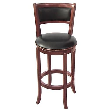 Wildon Home Vinyl 24'' Swivel Bar Stool; Cherry