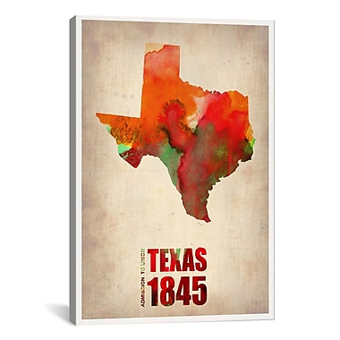 iCanvas Texas Watercolor Map by Naxart Graphic Art on Canvas; 12'' H x 8'' W x 0.75'' D