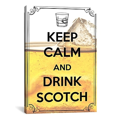 iCanvas Keep Calm and Drink Scotch Textual Art on Canvas; 26'' H x 18'' W x 0.75'' D