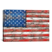 iCanvas 'U.S.A. Vintage Wood' by Maximilian San Graphic Art on Canvas; 18'' H x 26'' W