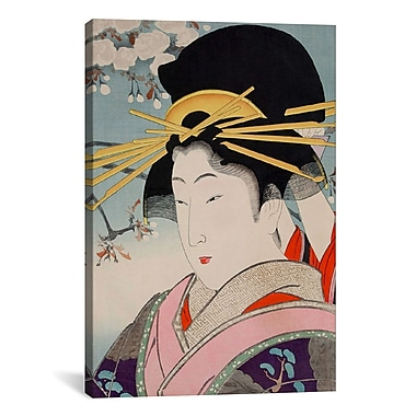 iCanvas A Courtesan Japanese Woodblock Painting Print on Canvas; 40'' H x 26'' W x 0.75'' D