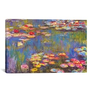 iCanvas 'Water Lilies, 1916' by Claude Monet Painting Print on Canvas; 8'' H x 12'' W x 0.75'' D