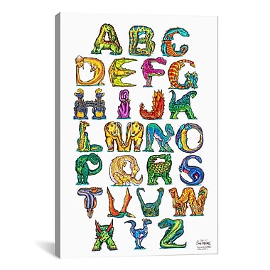 iCanvas Dinosaur Alphabet by David Russo Graphic Art on Canvas; 26'' H x 18'' W x 0.75'' D
