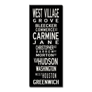 Uptown Artworks West Village Textual Art Giclee Printed on Canvas; 18X45