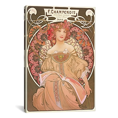 iCanvas Reverie by Alphonse Mucha Graphic Art on Canvas; 60'' H x 40'' W x 1.5'' D