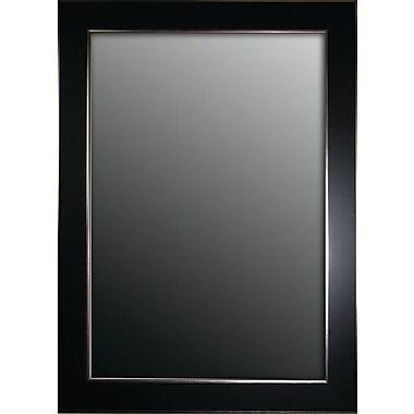 Second Look Mirrors Semi Matte Black w/ Silver Trim Edges Wall Mirror; 37'' H x 27'' W