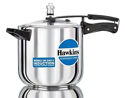 Hawkins Stainless Steel Pressure Cooker; 6.34 Quart