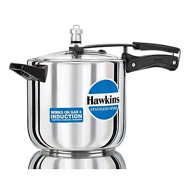Hawkins Stainless Steel Pressure Cooker; 6.34 Quart