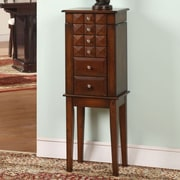 Wildon Home   Diamonti 5 Drawer Jewelry Armoire with Mirror; Coffee Brown
