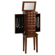 Wildon Home   Diamond Classic 6 Drawer Jewelry Armoire with Mirror; Coffee Brown
