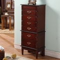 Wildon Home   Cherry Luxemburg Classic Jewelry Armoire with Mirror